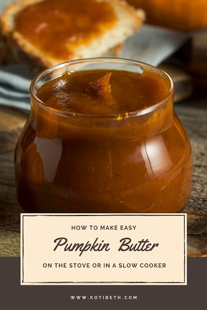 How to make an easy homemade pumpkin butter recipe. This recipe is naturally vegan and can be sugar free with maple syrup and coconut sugar. This is just like Trader Joes pumpkin butter. Use fresh or canned pumpkin for this quick DIY recipe. Make it in a slow cooker or crockpot or stovetop. What to do with pumpkin butter bars, desserts, or on toast. #pumpkinbutter #pumpkin