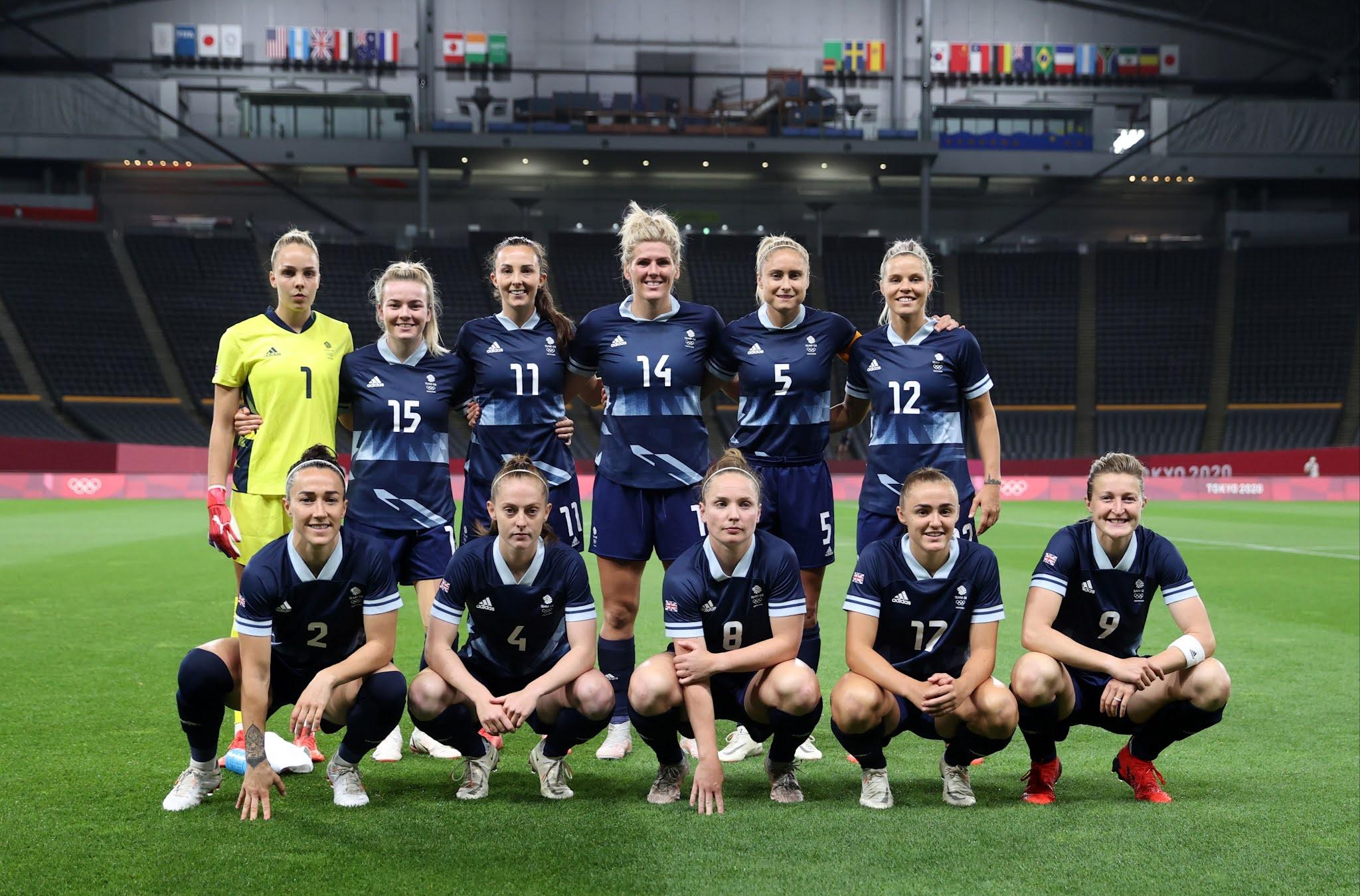Formación de selección femenina de Gran Bretaña ante Chile, Juegos Olímpicos de Tokio 2020, 21 de julio de 2021