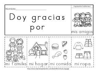 Dual Language with Mrs. G.: I'm Thankful Activities