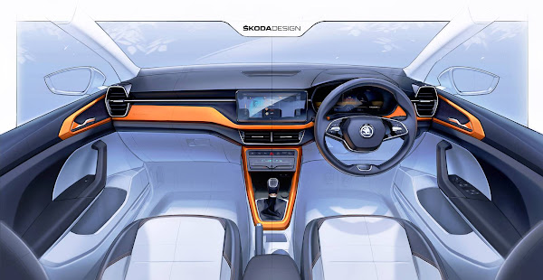 Škoda Kushaq: desenhos oferecem visão do interior do novo SUV compacto do Grupo VW