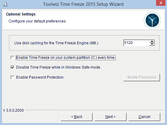 Time Freeze opzioni di installazione