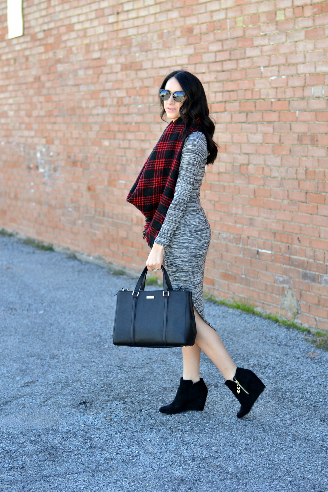 Buffalo Plaid, Blanket Scarf, Midi Dress