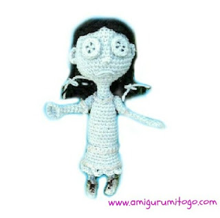grey crocheted ghost doll