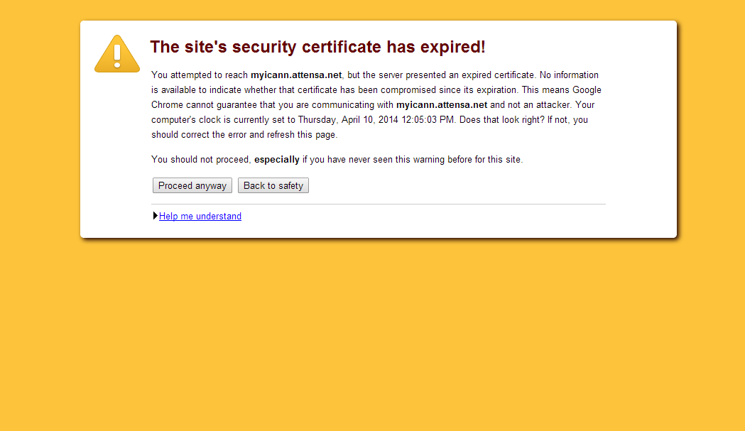 screenshot of security warning about ICANN website
