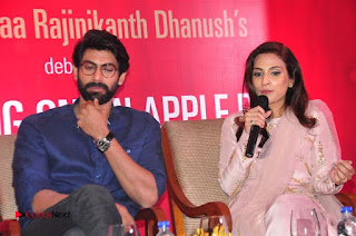 Aiswarya Rajinikanth Dhanush Standing on an Apple Box Launch Stills in Hyderabad  0078.jpg