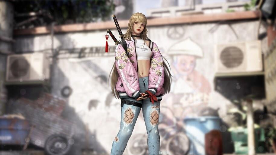 Anime, Beautiful, Urban, Girl, Blonde, Art, Katana, 4K, #6.1001