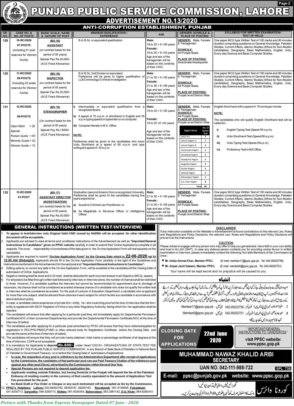 PPSC Jobs 2020 - Latest PPSC Jobs June 2020 Advertisement No. 13/2020