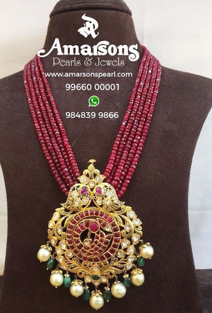 Ruby Beads Set with Pachi locket by Amarsons