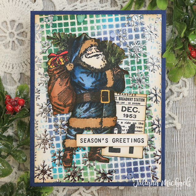 Season's Greetings Christmas Card with Stenciled Backgrounds with Distress Ink and Foil by Juliana Michaels