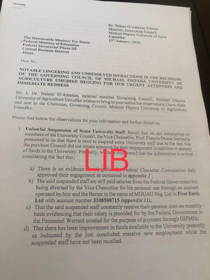 What is your take, in the Picture below, petition written by Dr 'Nelson O'Amanze', against MOUAU VC 'Otunta