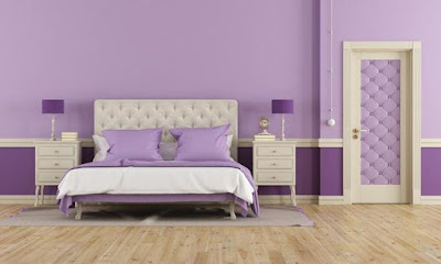 purple interior with relaxing bedroom paint color ideas