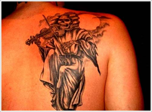 grim reaper tattoos with violin azrail dövmeleri