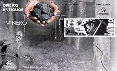 Sobre PDC con Matasellos oficios antiguos: minero