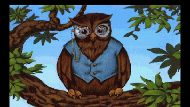 Screenshot of Cedric the Owl from King's Quest V