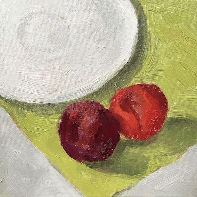 Daily Painting #14 'Two Plums and a Saucer' 6×6″ Oil on Board