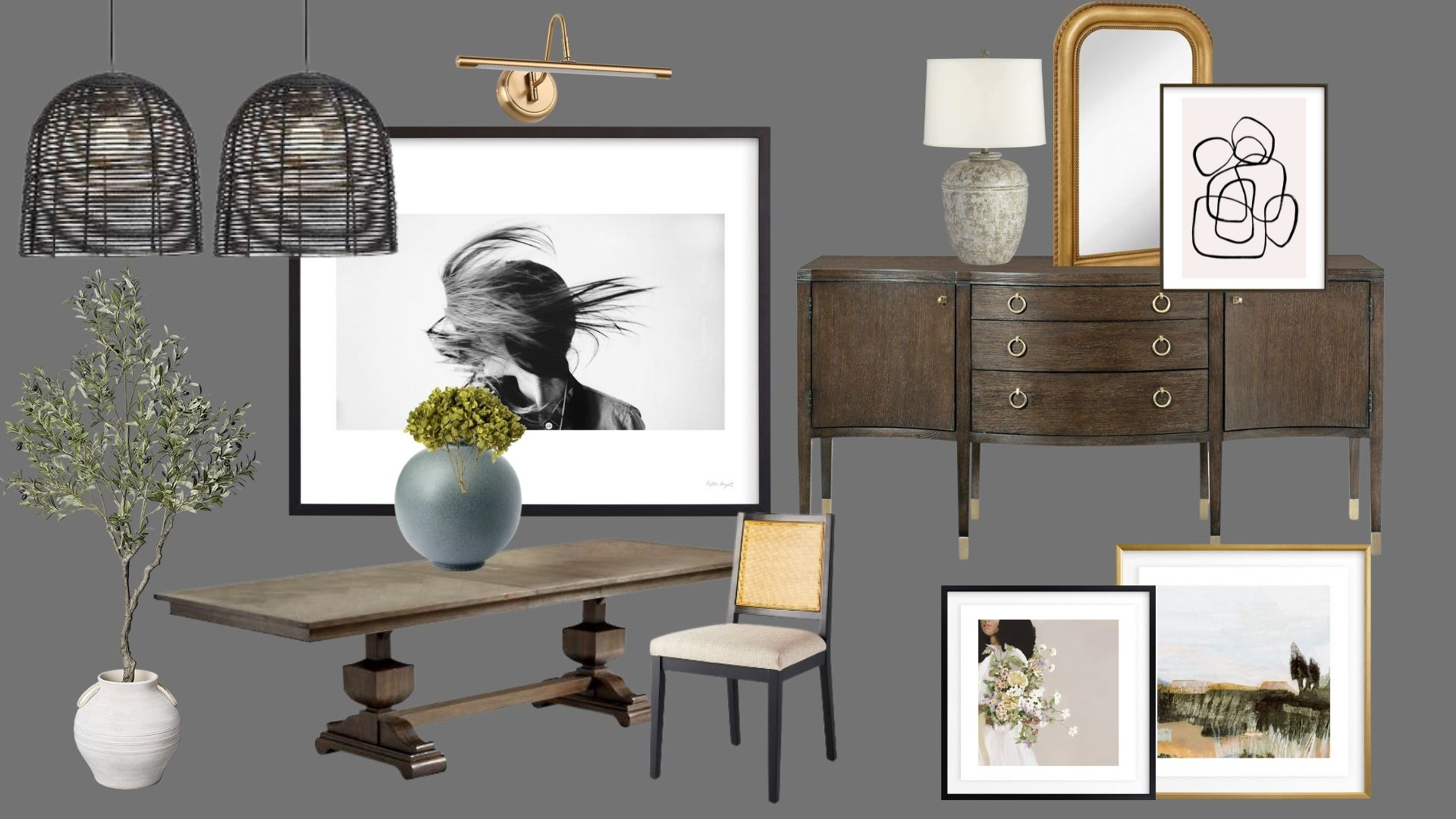 Dining Room Design Board with Minted Art