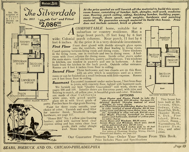 black and white catalog image of Sears Silverdale floor plan