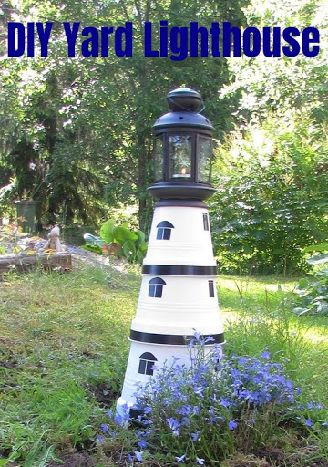DIY Painted Clay Pot Yard Lighthouse
