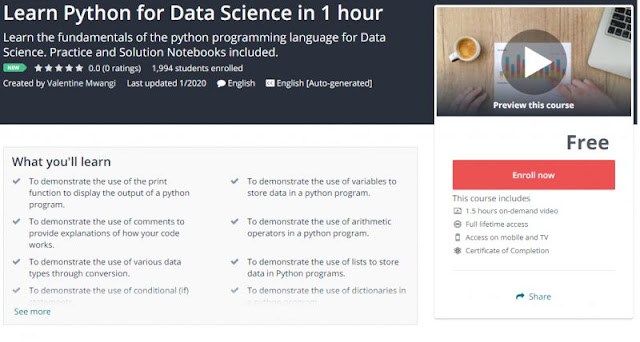 [100% Free] Learn Python for Data Science in 1 hour