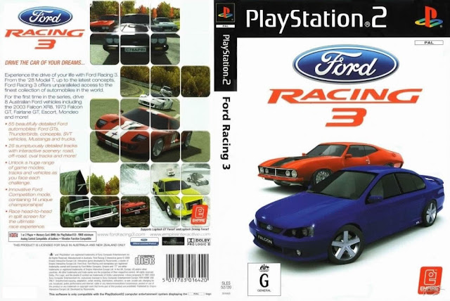 Descargar Ford Racing 3 ps2 iso NTSC-PAL: Es un video juego de carreras  desarrollado por Razorworks y del impacto visual y publicado por 2K Games , Empire Interactive y Zoo Digital Publishing , con la música compuesta por Tim Follin . Fue lanzado a finales de 2004, 2005, y 2006, y publicado por el PC, Xbox, PlayStation 2, Nintendo DS y Game Boy Advance.