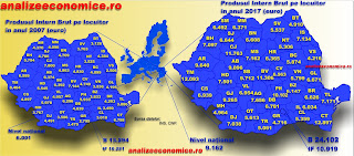 Harta județelor dupi PIB-ul pe locuitor