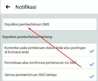 Cara Menonaktifkan Pemberitahuan SMS Facebook