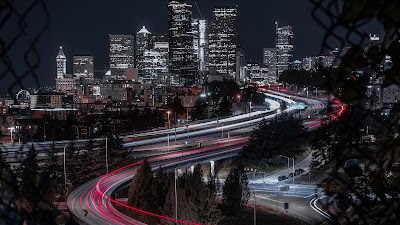 HD Wallpaper Large exhibition, Night city, Buildings, Roads, Lights