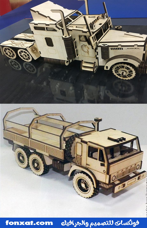Laser Cut Kamaz Truck and Laser Cut Kenworth W900s Truck