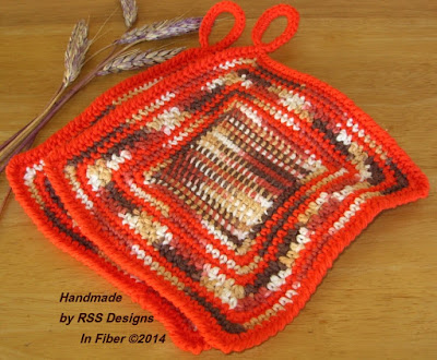 Orange and Browns Potholder Set of 2 - Handmade By Ruth Sandra Sperling at RSS Designs In Fiber