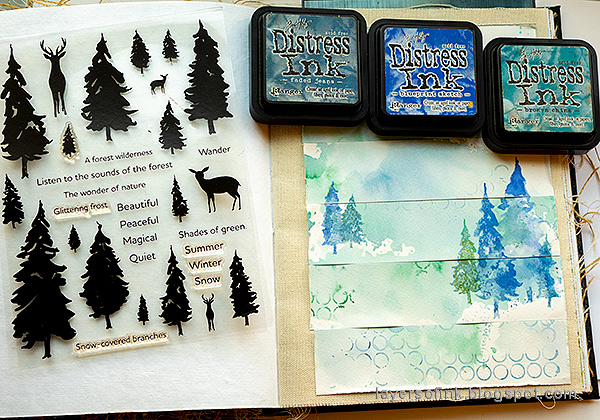 Layers of ink - Rain Art Journal Page Tutorial by Anna-Karin Evaldsson. Stamp with Simon Says Stamp Forest Scenery.