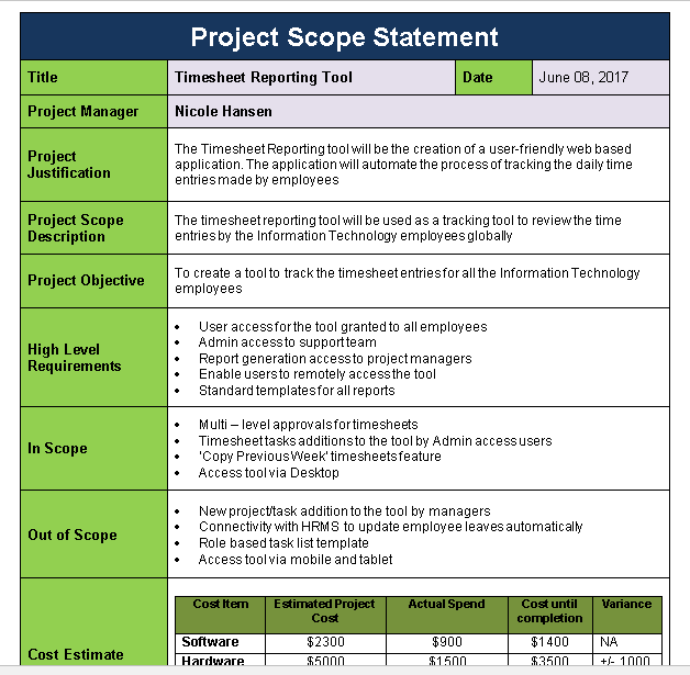 Project scope statement template download now free for High level requirements template
