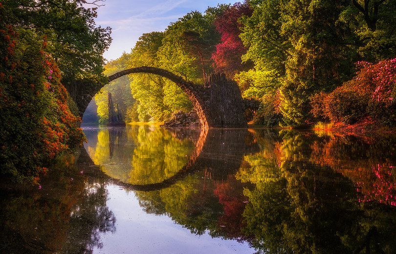 rakotzbrücke germany, circle bridge germany, rakotz bridge, circle bridge germany, germany bridge, gablenz germany, bridge in germany, famous bridge in germany, devil's bridge
