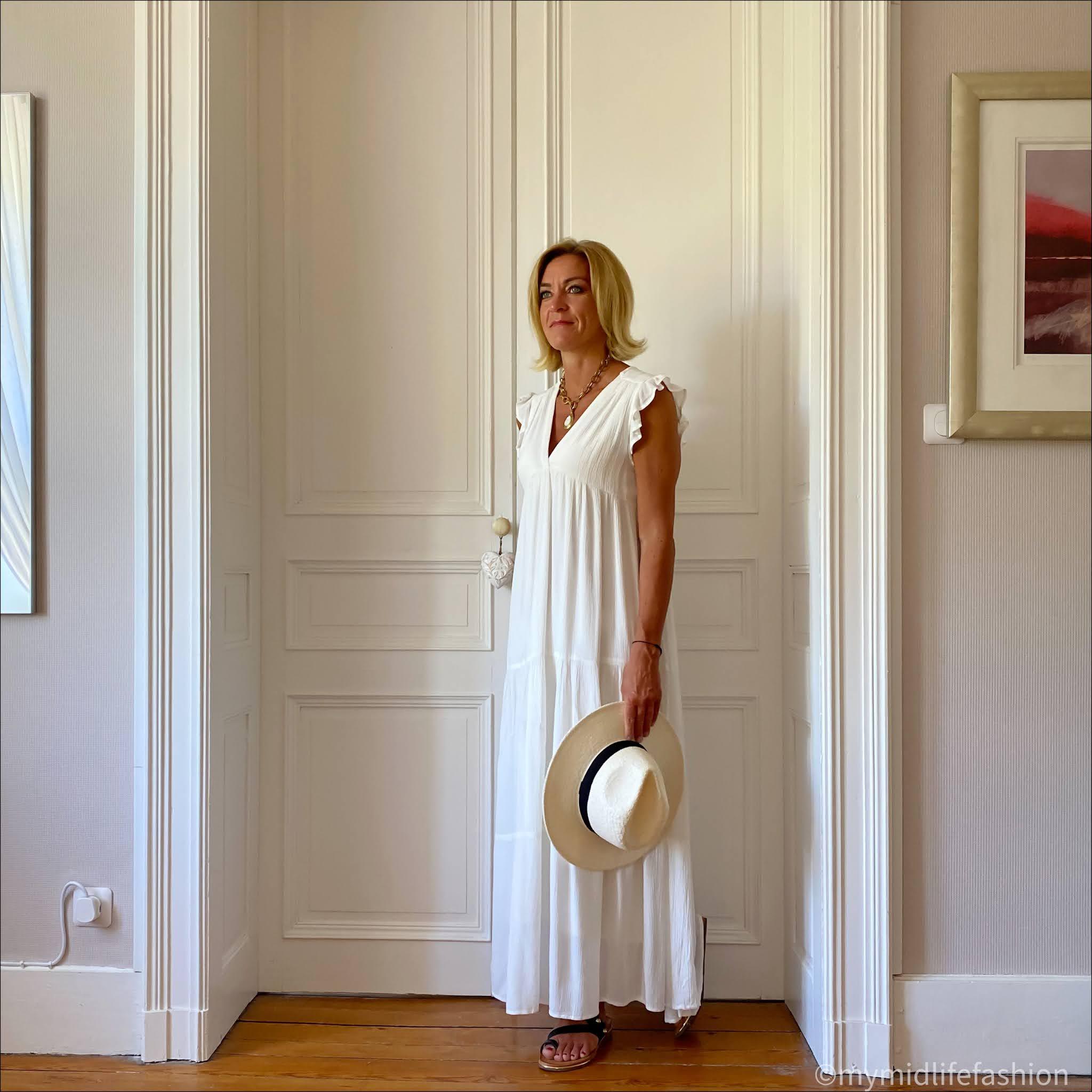 my midlife fashion, zara panama hat, goa tiered maxi dress, carvela karafe sandals
