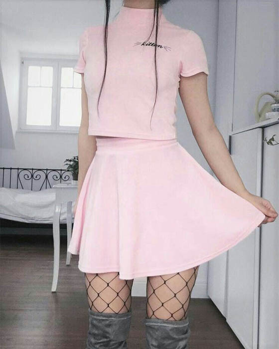 outfit rosa kawaii coreano