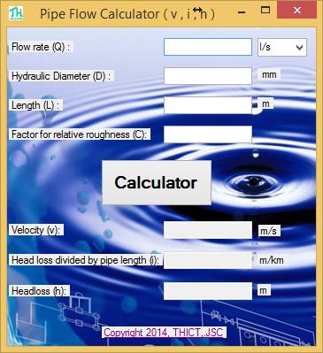 Phần mềm Tính toán thủy lực Đường ống (v, i , h) - Pipe Flow