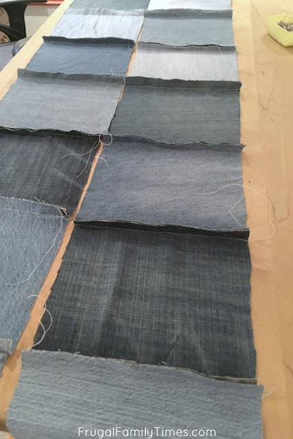 seams of old jean quilt