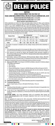 Delhi Police Recruitment for 554 Head Constable (Ministerial) Posts 2019