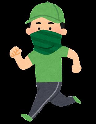 バフを付けてジョギングする人のイラスト(男性)