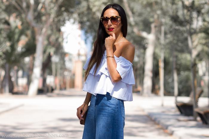 BLogger moda de valencia como combinar unos pantalones vaqueros crop culottes