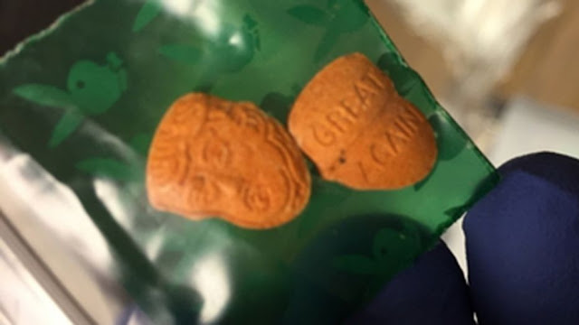 "Some Indiana drug users appear to be getting high on President Trump.  Indiana State Police made a startling discovery last week during an operation targeting small-time drug traffickers -- orange-colored Trump-shaped ecstasy pills.  Officials on Friday released a photo from the undertaking, codenamed ""Operation Blue Anvil,"" showing ecstasy pills in the shape of Trump's head. On the back are the words ""great again,"" an apparent reference to Trump's campaign slogan, ""Make America Great Again.""   Traffickers sometimes produce uniquely shaped or colored drugs as a marketing technique to encourage buyers to return for more, the Associated Press reported.   Photo shows some of the drugs Indiana Police seized during a six-day operation.  (Indiana State Police)  Police didn't say how many Trump-shaped ecstasy pills were seized during the operation on U.S. 31 in Miami and Fulton Counties.  German police reportedly seized similar-looking Trump ecstasy pills last year.  Indiana authorities said in a news release that last week's operation was aimed in part at catching individuals using Indiana roadways to transport and distribute drugs.  The stops resulted in 129 arrests on drug-related charges, they said. The busts also netted cocaine, heroin, LSD, marijuana and other drugs.  ""The patrols should also serve as a warning that police officers will utilize all of the resources at their disposal to catch and arrest the few who transport illegal drugs,"" Indiana State Police Sgt. Dan Prus said."