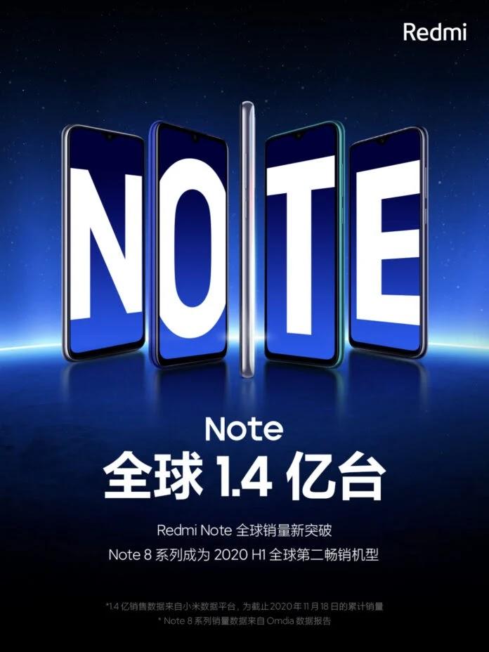 Penjualan global seri Redmi Note melebihi 140 juta unit