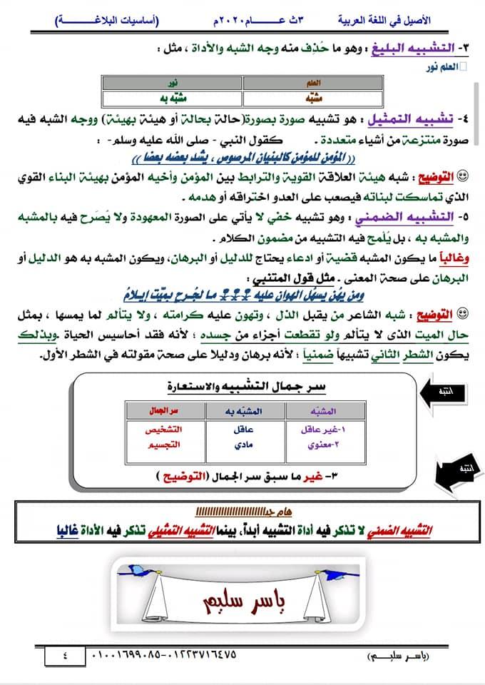 أساسيات البلاغة للثانوية العامة في١٥ورقة أ/ ياسر سليم 4