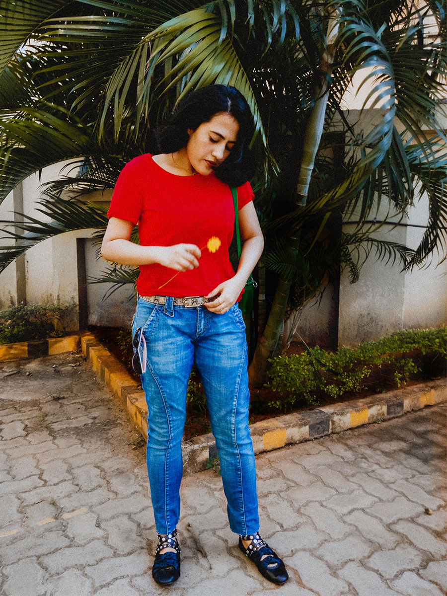 Next Red T-Shirt , Levi's Denim ,Zara ballerinas,  basic women red top