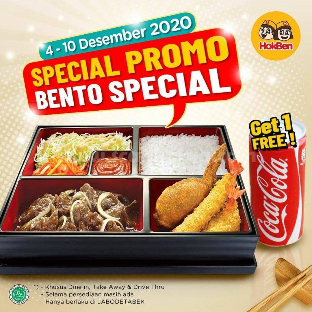 HOKBEN Special Promo Bento Special Get 1 Free Coca Cola*