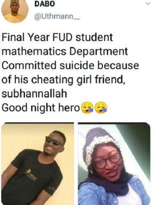 Final year student commits suicide after his girlfriend cheated on him