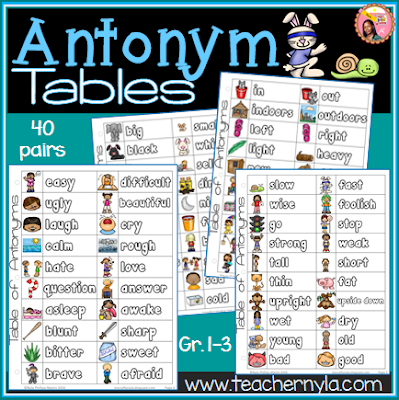 list of antonyms