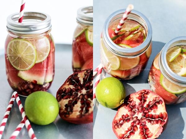 Detox Wasser mit Granatapfel Limette Wassermelone, ideales Getränk für heiße Sommertage, erfrischend