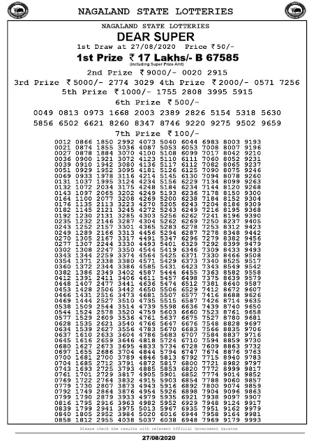 Lottery Sambad Dear Super Lottery Results 27-08-2020 Nagaland State