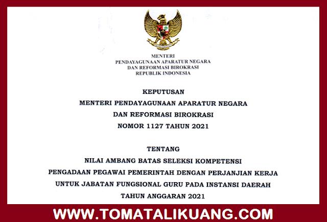 keputusan menpan rb nomor 1127 tahun 2021 nilai ambang batas seleksi kompetensi teknis pppk guru bkn ri pdf tomatalikuang.com