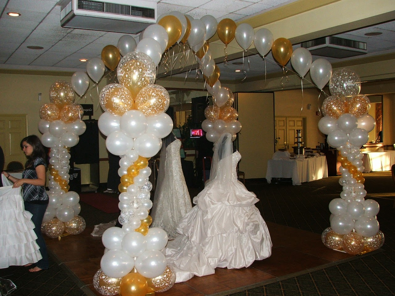 Wedding dance floor balloon arch